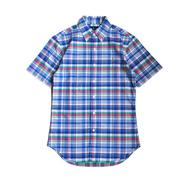 POLO RALPH LAUREN / PLAID COTTON SHORT SLEEVE SHIRT (BLUE)