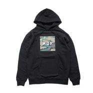 HUF / MUTED MILITARY BOX LOGO PULLOVER FLEECE (BLACK)