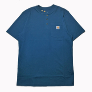 CARHARTT USA / POCKET HENLEY NECK TEE (STREAM BLUE)