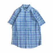 CHAPS / Plaid Button Down Linen Shirt (BLUE)