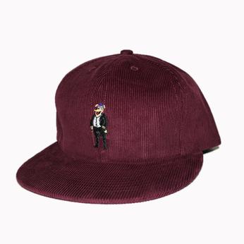 ACAPULCO GOLD / PARTY BEAR 6-PANEL CORDUROY CAP (BURGUNDY)