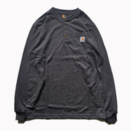CARHARTT USA / POCKET HENLEY NECK LS TEE (Carbon Heather)
