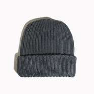 COLUMBIA KNIT / [MADE IN USA] SOLID COTTON KNIT CAP (CHARCOAL)