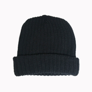 COLUMBIA KNIT / [MADE IN USA] SOLID COTTON KNIT CAP (BLACK)