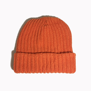 COLUMBIA KNIT / [MADE IN USA] SOLID COTTON KNIT CAP (ORANGE)