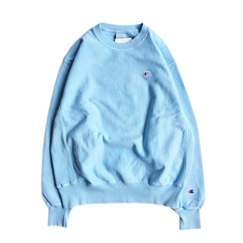 CHAMPION USA / PIGMENT DYE REVERSE WEAVE CREW NECK (BLUE)