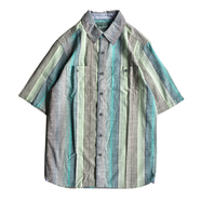 WOOLRICH / STRIPE S/S SHIRT (GREEN)