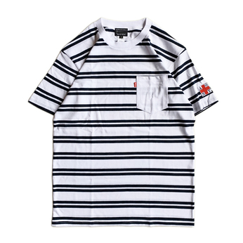 ACAPULCO GOLD / AGNY BORDER POCKET TEE (WHITE x NAVY)