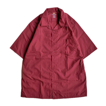 RED KAP / OPEN COLLAR SHIRT (BURGUNDY)
