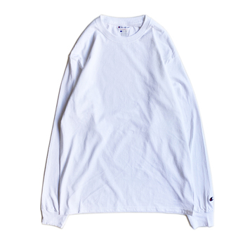 CHAMPION USA / 5.2oz Long Sleeve Tee (WHITE)