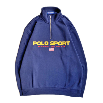 POLO SPORT / LOGO HALF ZIP SWEAT (NAVY)
