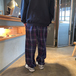 WACK WACK / Body groove check pants (PURPLE)