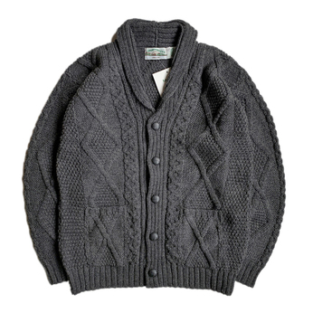ARAN CRAFTS / MERINO WOOL ARAN CARDIGAN (BLACK)