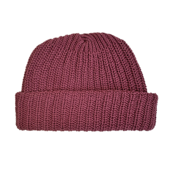 COLUMBIA KNIT / [MADE IN USA] SHORT COTTON KNIT CAP (BURGUNDY)