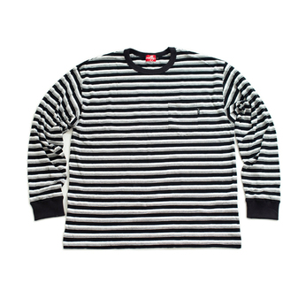 nuttyclothing / Multi Border Pocket L/S T-Shirt (Black)